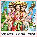 Saraswati, Lakshmi and Parvati - The Three Devis of the Hindu Pantheon