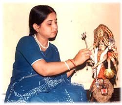 Cloth doll maker Madhuri Guin