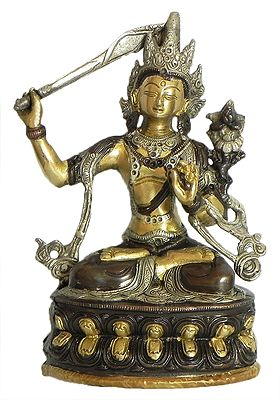 Manjushri - Brass with Copper Statue