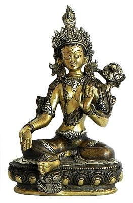 Green Tara - Brass with Copper Statue