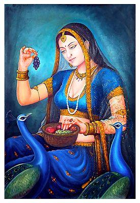 Rajput Princess Feeding Peacock - Canvas Painting