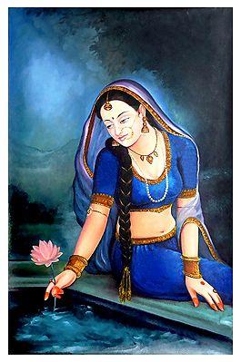 Rajput Princeess Plucking Lotus - Canvas Painting