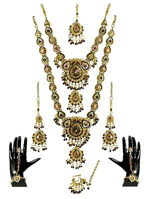 Stone Studded Twin Necklace Set