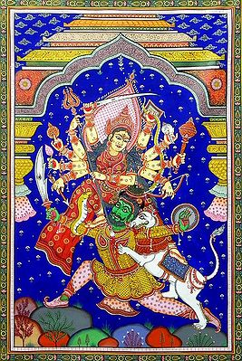 Devi Durga - Paata Painting on Tussar