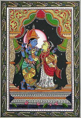 Radha Krishna - Pata Painting on Patti