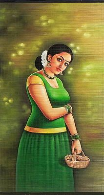 Malayalee Girl -  Hand Painted Wall Hanging
