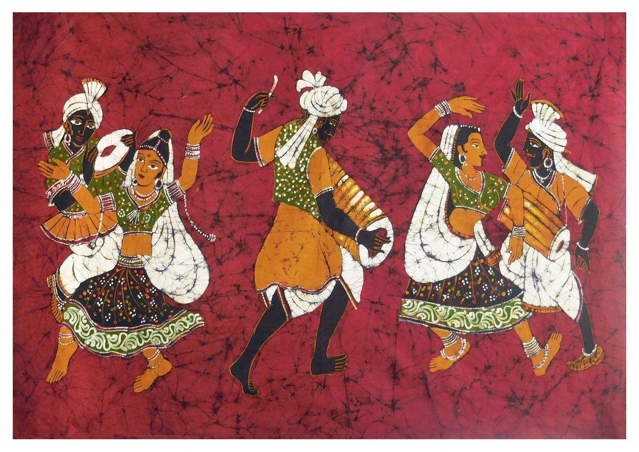 Tribal Folk Dancers - Batik Painting on Fabric