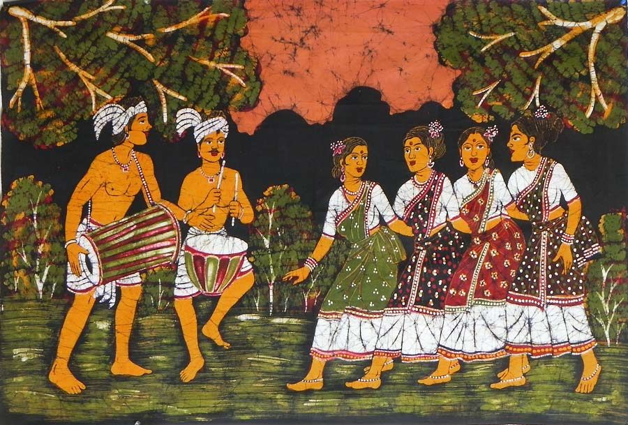 Santhal Dancers - Batik Painting on Cloth - 52 x 35 inches