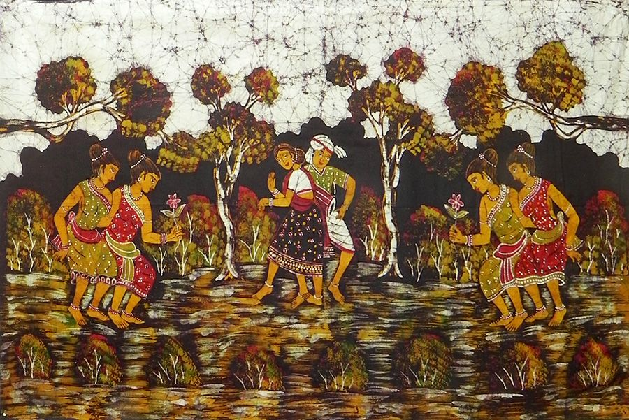 Santhal Dancers - Batik Painting on Cloth - 70 x 45 inches