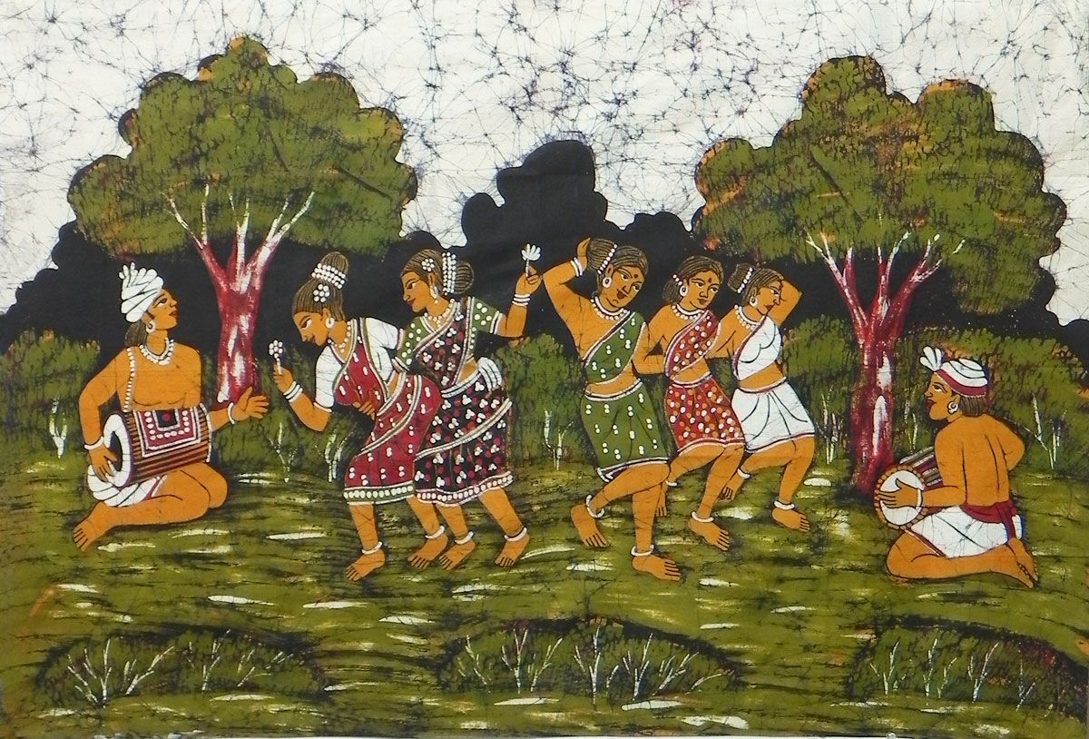 Santhal Folk Dancers - Batik Painting on Cloth