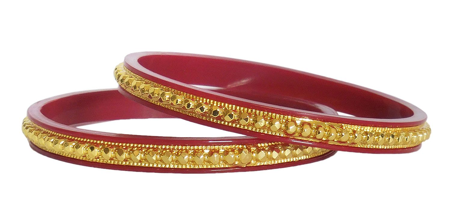 Gold plated red bangles for Red with gold