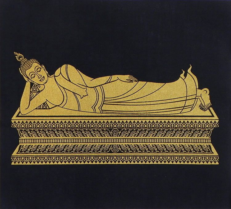 Reclining Buddha. Hover to zoom  sc 1 st  Dolls of India & Reclining Buddha - Screen Print on Silk - 11.5 x 12.5 inches islam-shia.org