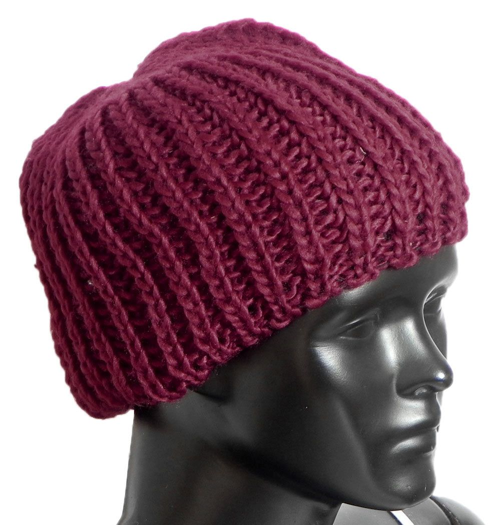 c5458e012fc Ladies Hand Knitted Maroon Woolen Beanie Cap. Hover to zoom