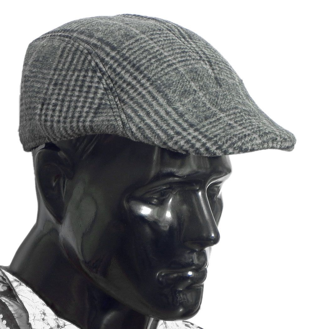1ef78229eab Dark Grey Check Woolen Flat Cap. Hover to zoom