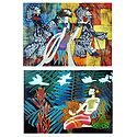 Set of 2 Multicolor Abstract Posters