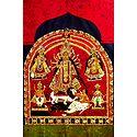 Devi Durga with Family - Batik Painting on Cloth