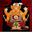 Lord Ganesha Playing Drum - Batik Painting on Cloth
