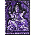 Meditating Lord Shiva - Printed Batik