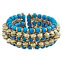 Metal Ghunghroo and Blue Bead Cuff Bracelet
