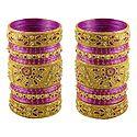 2 Sets of Golden Glitter Bangles with Magenta Churis