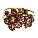 Purple Stone Studded Oxidised Metal Hinged Bracelet
