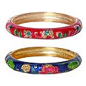 Set of 2 Red and Blue Meenakari Hinged Metal Bracelet