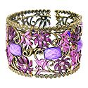 Purple Stone Studded Oxidised Metal Designer Cuff Bracelet