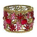 Red Stone Studded Oxidised Metal Designer Cuff Bracelet