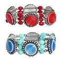 Set of 2 Red and Blue Stone Stretchable Link Bracelet
