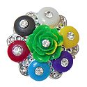 Stone Studded Multicolor Acrylic Flower Brooch