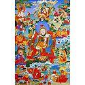 Guru Padma rGyal-po, One of the Manifestation of Padmasambhava, Surrounded by Siddhas of the Vajrayana