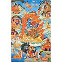 Guru rdo-rje Dro-lod, One of the Manifestation of Padmasambhava, Surrounded by Siddhas of the Vajrayana