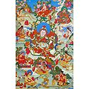 Guru Blo-Idan mChog-sred, One of the Manifestation of Padmasambhava, Surrounded by Siddhas of the Vajrayana