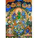 Green Tara Surrounded by Buddha