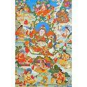Guru Blo-Idan mChog-sred, One of the Manifestation of Padmasambhava, Surrounded by Siddhas of the Vajrayana