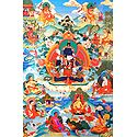 Guru mTsho-skyes rDo-rje - One of the Manifestations of Padmasambhava, Surrounded by Siddhas of theVajrayana