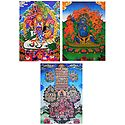 Blue Mahakala, Vaishravana, Gelugpa Refuge Tree - Set of 3 Thangka Posters