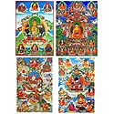 Buddha, Manjusri and Manifestations of Padmasambhava - Set of 4 Posters