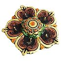 Hand Painted Acrylic Stone Studded Panchamukhi Flower Diya with Gel Wax Candle