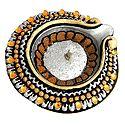 Hand Painted and Acrylic Stone Studded Silver Circular Diya with Gel Wax Candle