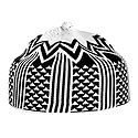 Black and White Thread Knitted Muslim Prayer Cap