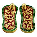 Red with Green Laquered Metal Deity Paduka