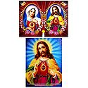 Jesus Christ and Mother Mary - Set of 2 Glitter Posters