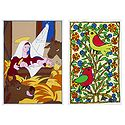 Mother Mary with Jesus and Birds - Set of 2 Small Poster