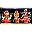 Appliqued Jagannthdev, Balaram and Subhadra on Black Velvet Cloth - (Wall Hanging)