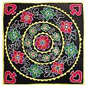 Appliqued and Embroidered Flowers on Black Velvet Cloth - Wall Hanging