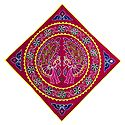 Embroidered Peacock on Appliqued Red Velvet Cloth - Wall Hanging