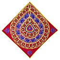 Blue Appliqued Elephants on Red Cotton Cloth - Wall Hanging