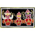Appliqued Jagannathdev, Balaram and Subhadra on Black Velvet Cloth - (Wall Hanging)