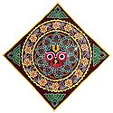 Appliqued and Embroidered Face of Jagannathdev on Maroon Velvet Cloth - (Wall Hanging)
